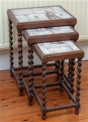 Sale 9055H - Lot 2 - A Jacobean style nest of three oak tables with hand-painted tile inserts of sailing boats. Initialled Inge Kongsted. H57cm W42cm D34cm