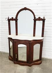Sale 9085 - Lot 1013 - Victorian Walnut Credenza, with triple mirror back, above a white serpentine shaped marble top & three arched mirror panel doors - k...