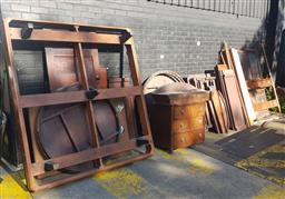 Sale 9102 - Lot 1246 - Large collection of restorable furniture incl. bed heads, leaves, glass panelled doors, etc