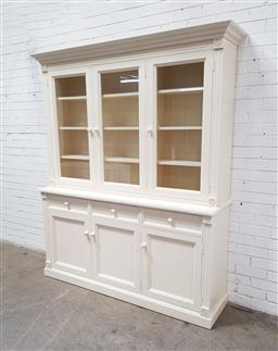 Sale 9121 - Lot 1004 - Painted Pine kitchen hutch with three doors above & three below with three drawers (h:214 w:185 d:45cm)