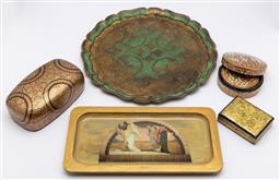 Sale 9099 - Lot 128 - A collection of gilt painted items included florentine tray, lacquered boxes, lidded container etc. Diameter of tray 40cm