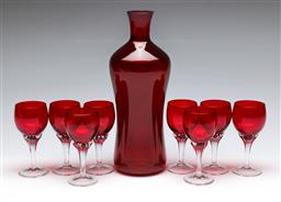 Sale 9164 - Lot 267 - A ruby glass drinks suite inc decanter and glasses