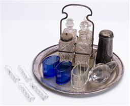 Sale 9185E - Lot 128 - A plated tray together with cruet set and glass liners