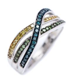 Sale 9194 - Lot 502 - A SILVER TRI COLOUR DIAMOND RING; 3 bands set with single cut chocolate, treated blue and treated yellow diamonds, totalling approx....