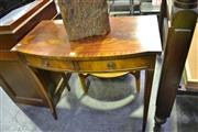 Sale 8127 - Lot 858 - Bow Front Twin Drawer Hall Table