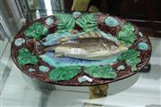 Sale 8151 - Lot 12 - French Palissy Majolica Fish Wall Plaque by Francois Maurice