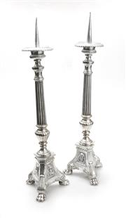 Sale 8202A - Lot 67 - A pair of Antique French silver plate on bronze prickets, H 60cm