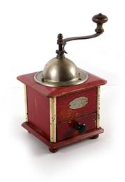 Sale 8224A - Lot 30 - An early French coffee grinder with original red paint finish, made by 'Peugeot', 24 cm  x 15 cm