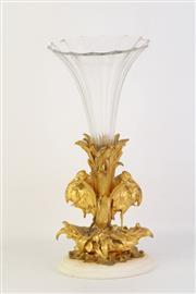 Sale 8775 - Lot 10 - Cast Gilded Metal Epergne (Chip To bottom of Glass)
