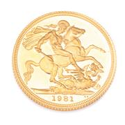 Sale 8866 - Lot 338 - A 1981 GOLD SOVEREIGN; in case, uncirc.