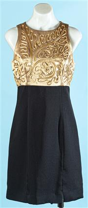 Sale 9090F - Lot 127 - A PACO SLEEVELESS MINI DRESS, with gold silk top and cording, size 10