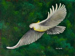 Sale 9116A - Lot 5066 - Greg Lipman (1938 - ) Flight of the Sulphur Crested acrylic on canvas 76 x 102 cm signed lower right