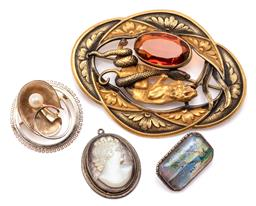 Sale 9132 - Lot 314 - THREE VINTAGE BROOCHES AND A PENDANT; an emerald shape silver frame with miniature painting of Fiji, back marked TLM Sterling, a 14c...