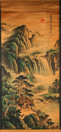 Sale 9209 - Lot 78 - Chinese scroll featuring village abreast a waterfall (155cm x 67cm)