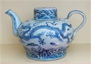 Sale 8270 - Lot 73 - A Chinese blue and white covered tea pot, with dragon design, marks on shoulder of the body, H 17cm
