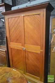 Sale 8267 - Lot 1074 - Late 19th / Early 20th Century Kauri Pine & Cedar Linen Cabinet, with four doors having diagonal panel work.