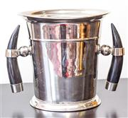 Sale 8279A - Lot 28 - A silver plated and horn mounted wine cooler, height 21cm