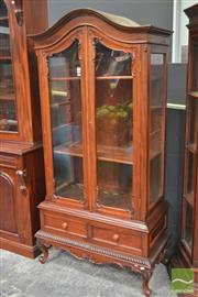 Sale 8277 - Lot 1009 - Raised Timber Display Cabinet with Two Drawers on Stand