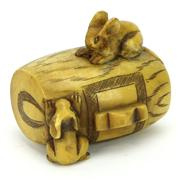 Sale 8304A - Lot 35 - Ivory Carved Netsuke of Rabbits on a Barrel with a Signature