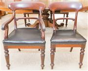 Sale 8346A - Lot 10 - A set of six early C19th mahogany dining chairs with black leather and brass studded upholstery, includes two carvers, H of back 88c...