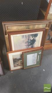 Sale 8446 - Lot 2078 - Collection of (7) Framed Decorative Prints by Various Artists including Arthur Streeton and Norman Lindsay.