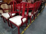 Sale 8717 - Lot 1016 - Oriental Seven Piece Red Lacquered Dining Setting incl. Extension Table with Single Leaf & Six Chairs with Cushion Seat
