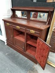 Sale 8745 - Lot 1009 - Timber Mirrored Back Sideboard with Three Drawers & Doors