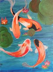Sale 8867A - Lot 5083 - Greg Lipman (1938 - ) - Koi Pond 122 x 92cm