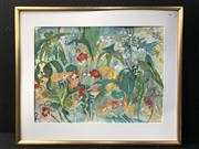 Sale 8953 - Lot 2052 - C Tanner Lushious Flowers gouache, 80 x 96cm (frame - no broken), signed lower right