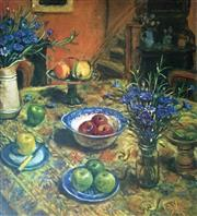 Sale 8988A - Lot 5009 - Margaret Olley (1923 - 2011) - Yellow Tablecloth with Cornflowers, 1997 94 x 79 cm
