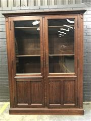 Sale 9048 - Lot 1024 - Good Late 19th Century French Oak Gothic Armoire or Bookcase, of wide proportions, with two glass panel doors having linen-fold pa...