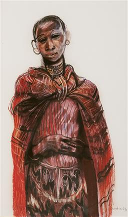 Sale 9109 - Lot 533 - Margaret Woodward (1938 - ) Young Massai Girl, 1993 mixed media on paper 88 x 53 cm (frame: 108 x 71 x 3 cm) signed and dated lower ...