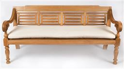 Sale 9135H - Lot 169 - A superb teak day bed, cushions included. 2M Width, 86cm Height, 75cm Depth.