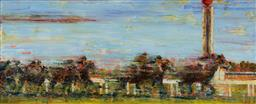 Sale 9141 - Lot 562 - Joseph Rolella (1972 - ) Trackside, Caulfield, 2006 oil on canvas 111 x 281 cm signed and dated lower right, titled verso