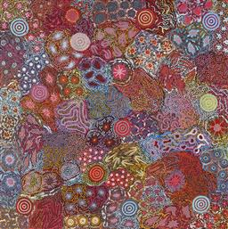 Sale 9148A - Lot 5034 - MICHELLE POSSUM NUNGURRAYI (1969 - ) Grandmother's Country acrylic on linen 150 x 150 cm (stretched and ready to hang) signed and ti..