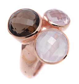 Sale 9194 - Lot 312 - A SILVER ROSE GILT STONE SET RING; rub set with round chequerboard cut smoky, rose and clear quartz, width 21mm, size N 1/2, wt. 6.75g.