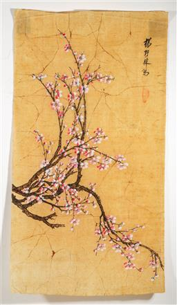Sale 9209 - Lot 31 - Chinese work on canvas of a blossoming tree (80cm x 45cm)