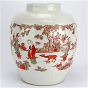 Sale 8258 - Lot 71 - Wanli Style Red & Green Immortals Jar