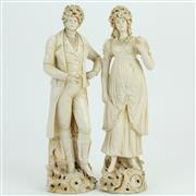Sale 8390A - Lot 5 - Blanc de Chine Pair of Continental Figures (damage to fingers)