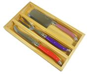 Sale 8372A - Lot 78 - Laguiole by Andre Aubrac 3-Piece Cheese Set w Multi Coloured Handles RRP $70