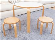 Sale 8471H - Lot 81 - A childrens setting comprising circular bent plywood table and two matching stools