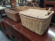 Sale 8566 - Lot 1275 - Pair of Baskets and Wicker Tray (3)