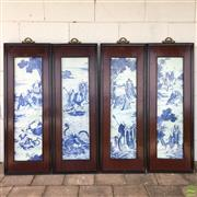 Sale 8649R - Lot 167 - Set of Four Oriental Framed Decorative Handpainted Blue and White Tiles (81 x 21.5cm)