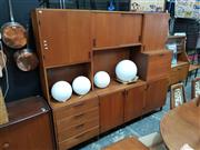 Sale 8872 - Lot 1009 - Vintage Australian Teak Wall Unit with Multiple Doors & Drop Front Section