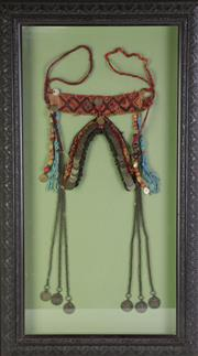 Sale 8890T - Lot 62 - A middle eastern necklace in frame (frame size 50cm x 86cm)
