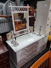 Sale 8934 - Lot 1086 - Painted Cane Dresser with Matching Mirror (2)
