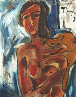 Sale 9118A - Lot 5043 - Pham Luc (1943 - ) - Vietnamese Girl with Cat, 1995 61 x 48.5 cm