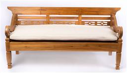 Sale 9135H - Lot 168 - A Classic traditional teak day bed. 1.96M Width, 75cm Depth, 95cm Height