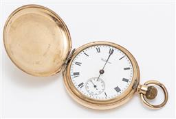 Sale 9180E - Lot 94 - An Elgin USA double plated pocket watch with Waltham clock face, slight crack to face