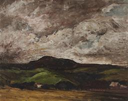 Sale 9178 - Lot 579 - GEORGE FEATHER LAWRENCE (1901 - 1981) Landscape, 1950 oil on board 34.5 x 44.5 cm (frame: 44 x 54 x 5 cm) signed and dated lower left